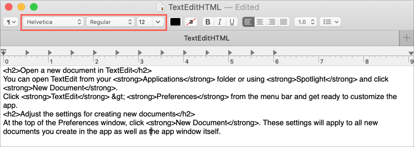 TextEdit Rich Text Toolbar