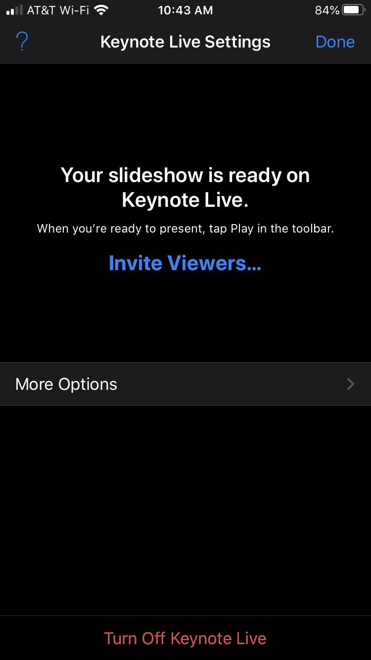 Turn Off Keynote Live iPhone