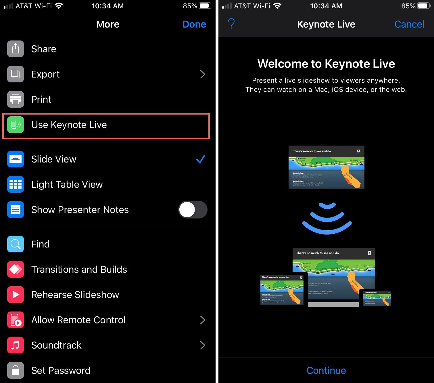 Use Keynote Live iPhone