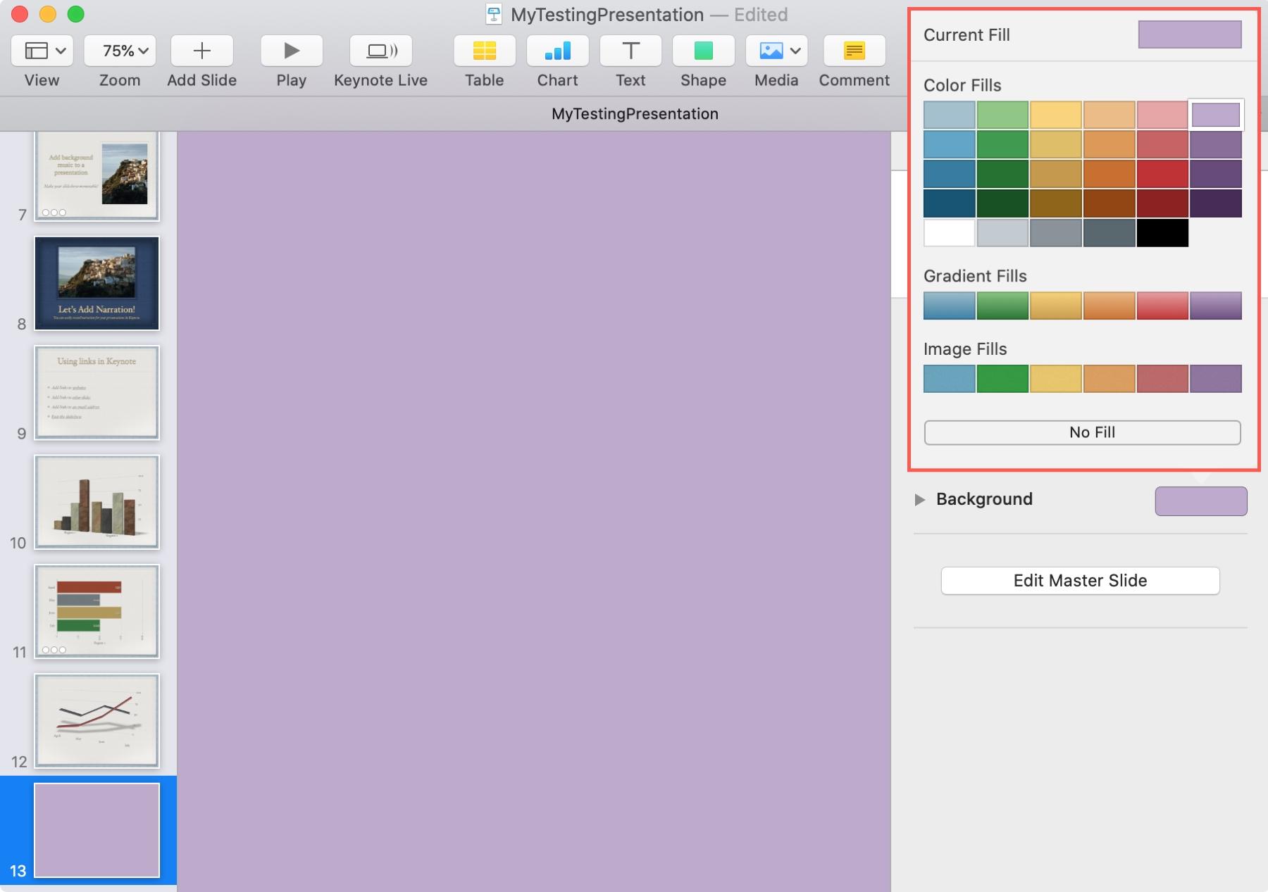 Add Background Color Keynote Mac