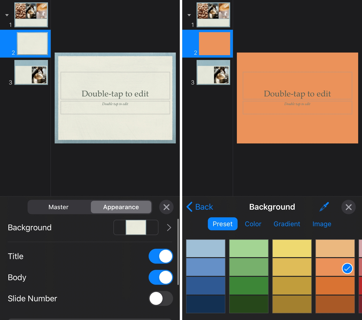 Add Background Color Keynote iPhone