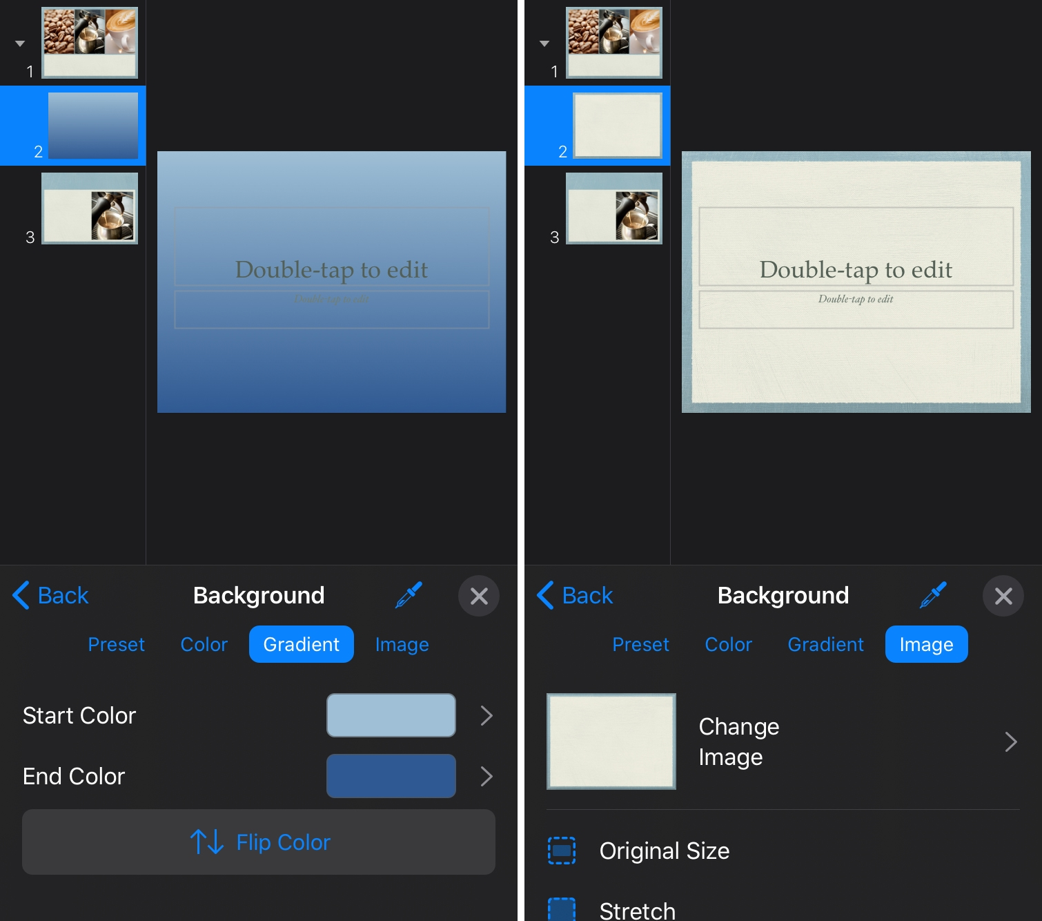 Add Background Gradient Image Keynote iPhone