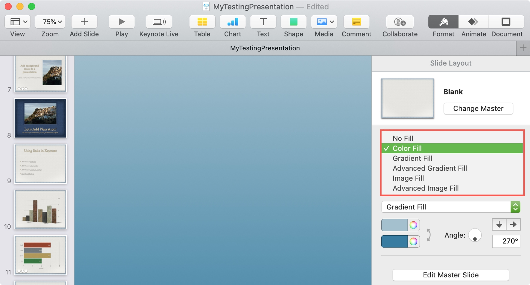 Add Background Gradient Keynote Mac
