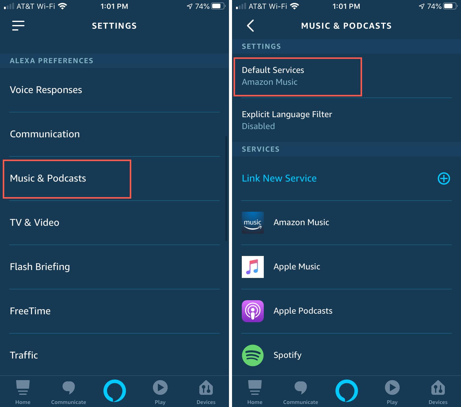 Alexa Default Music App