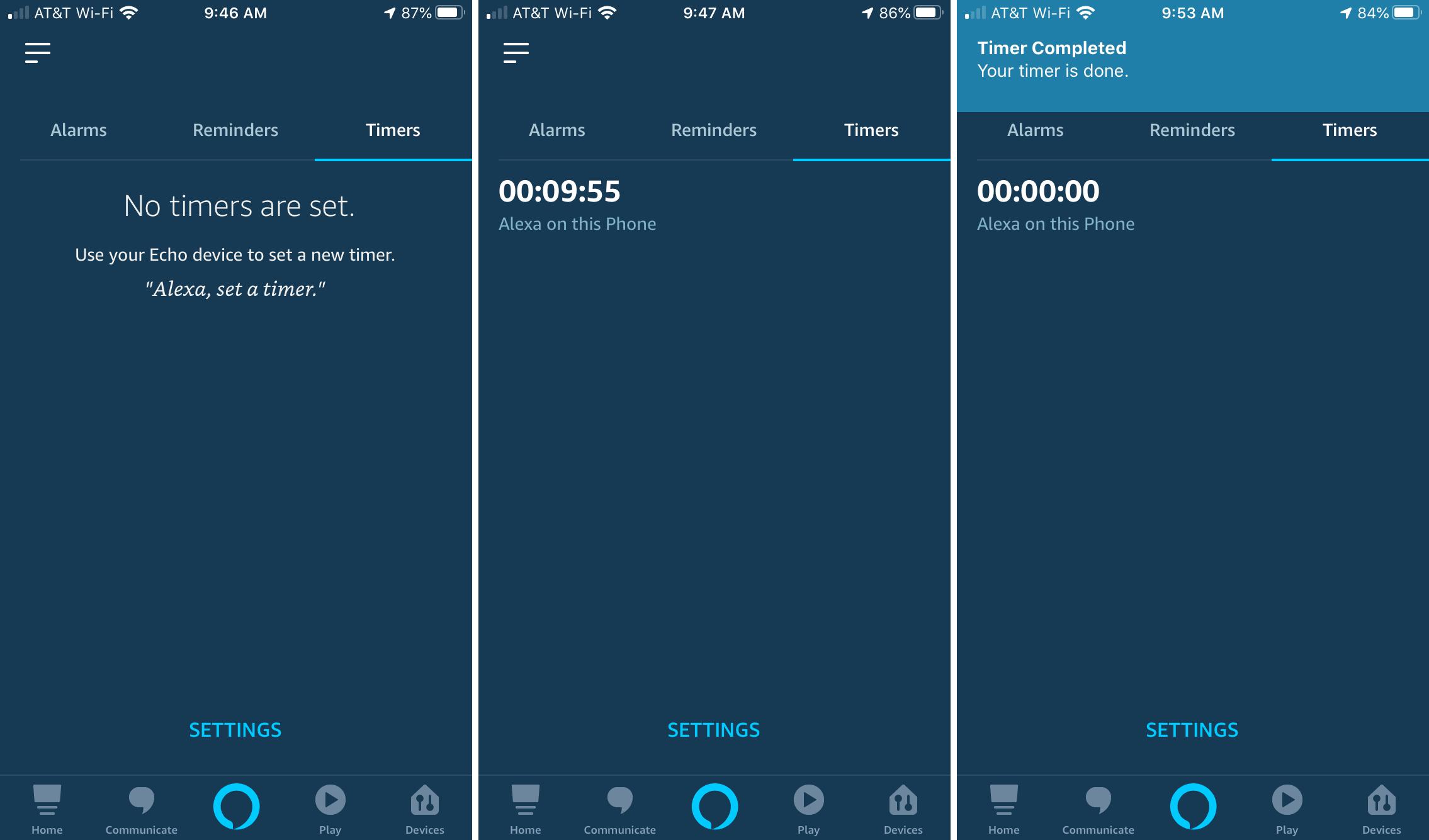 Alexa Set Timer on iPhone