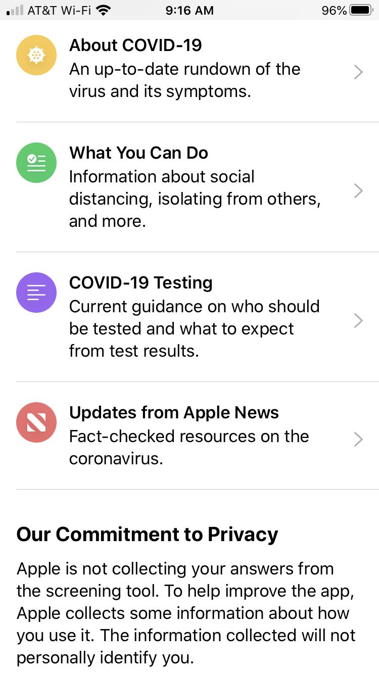 Apple COVID-19 iPhone App Main