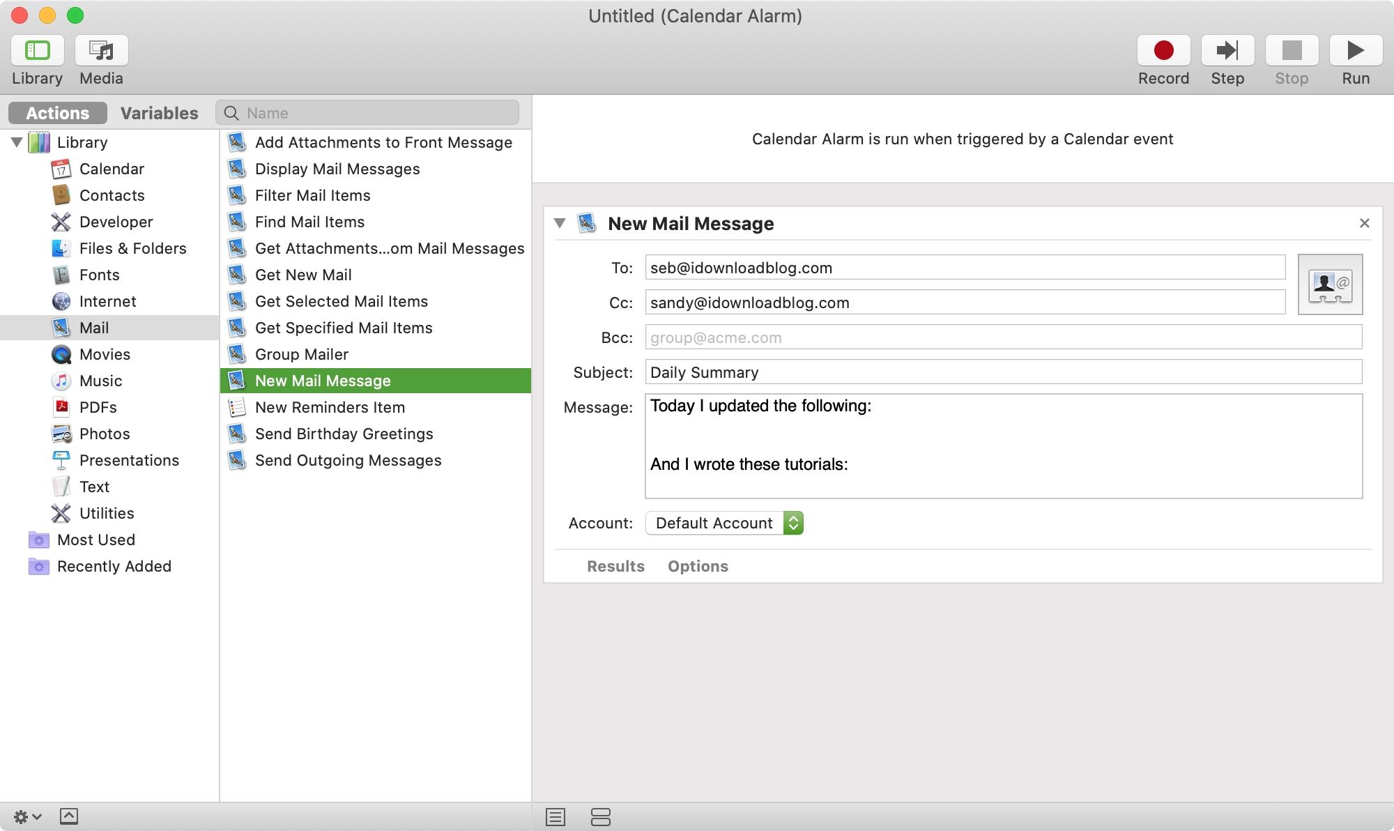 Automator Calendar Alarm to Create Email
