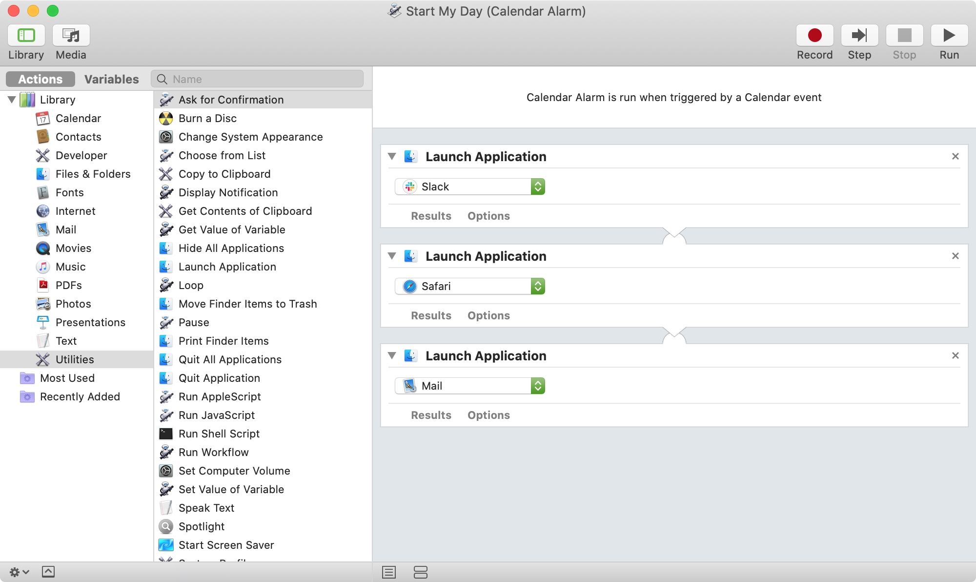 Automator Calendar Alarm to Launch Apps