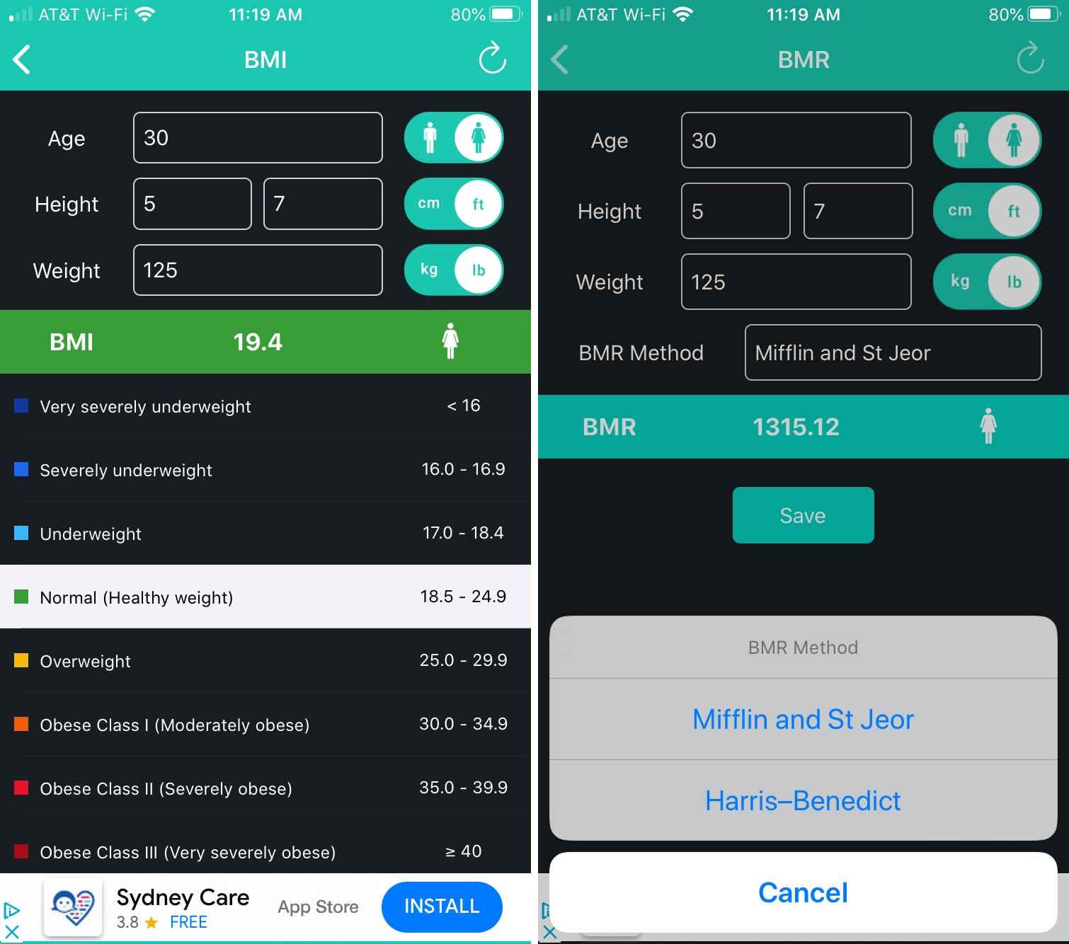 BMI Calculator BMR Manager iPhone