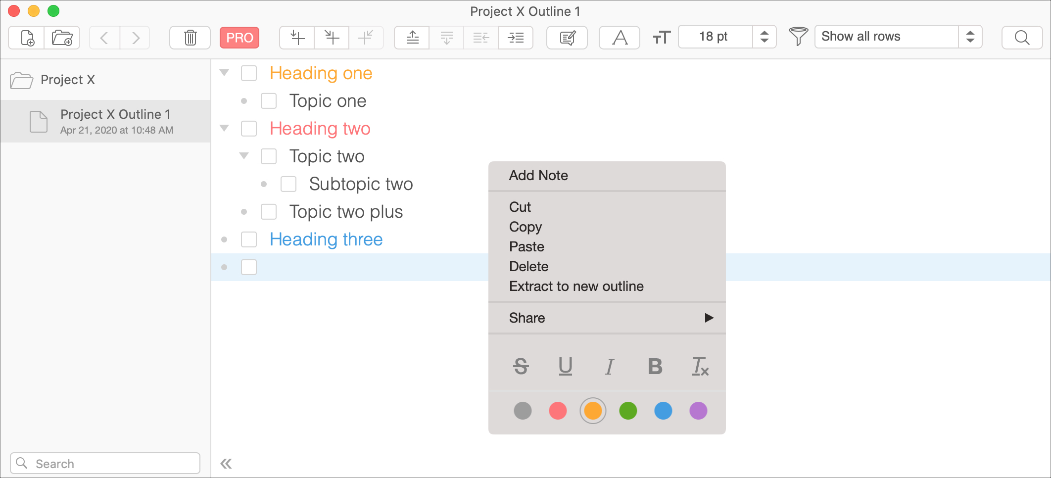 Aplicación Cloud Outliner para Mac