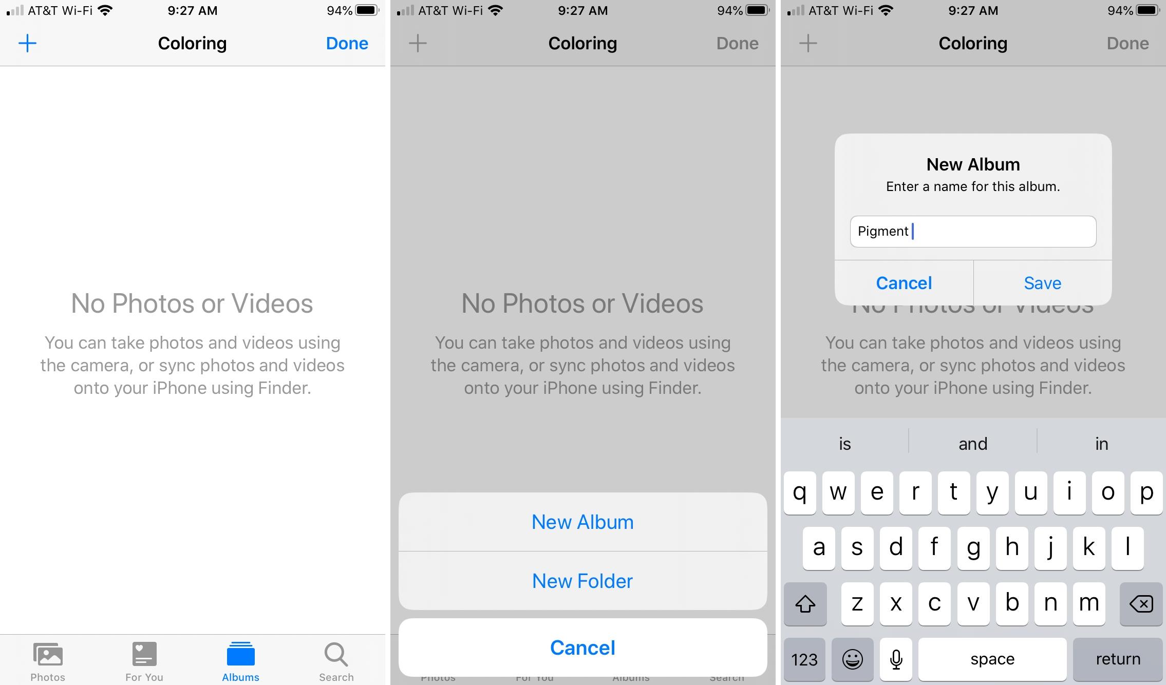 Create Album in Folder Photos iPhone