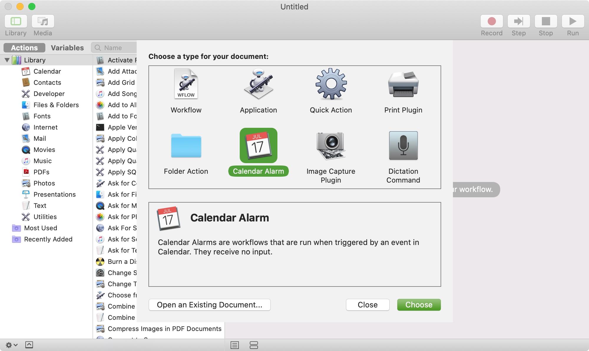 Create New Automator Calendar Alarm