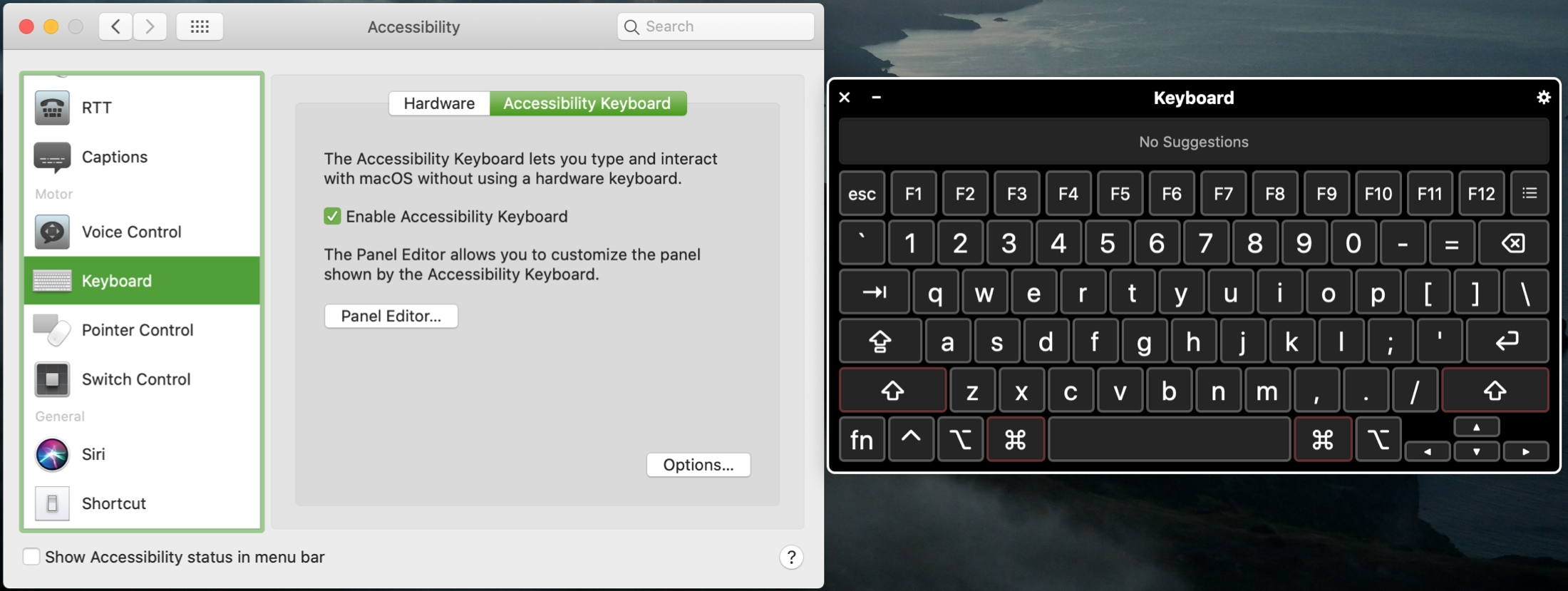Enable Mac Accessibility Keyboard