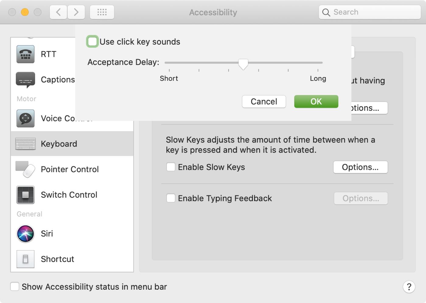 Enable Slow Keys Mac Accessibility Keyboard