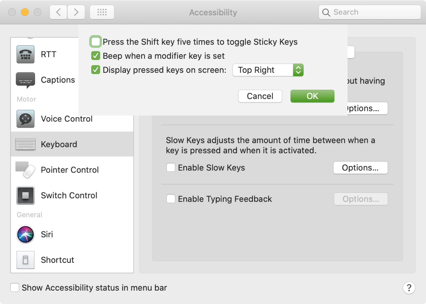 Enable Sticky Keys Mac Accessibility Keyboard