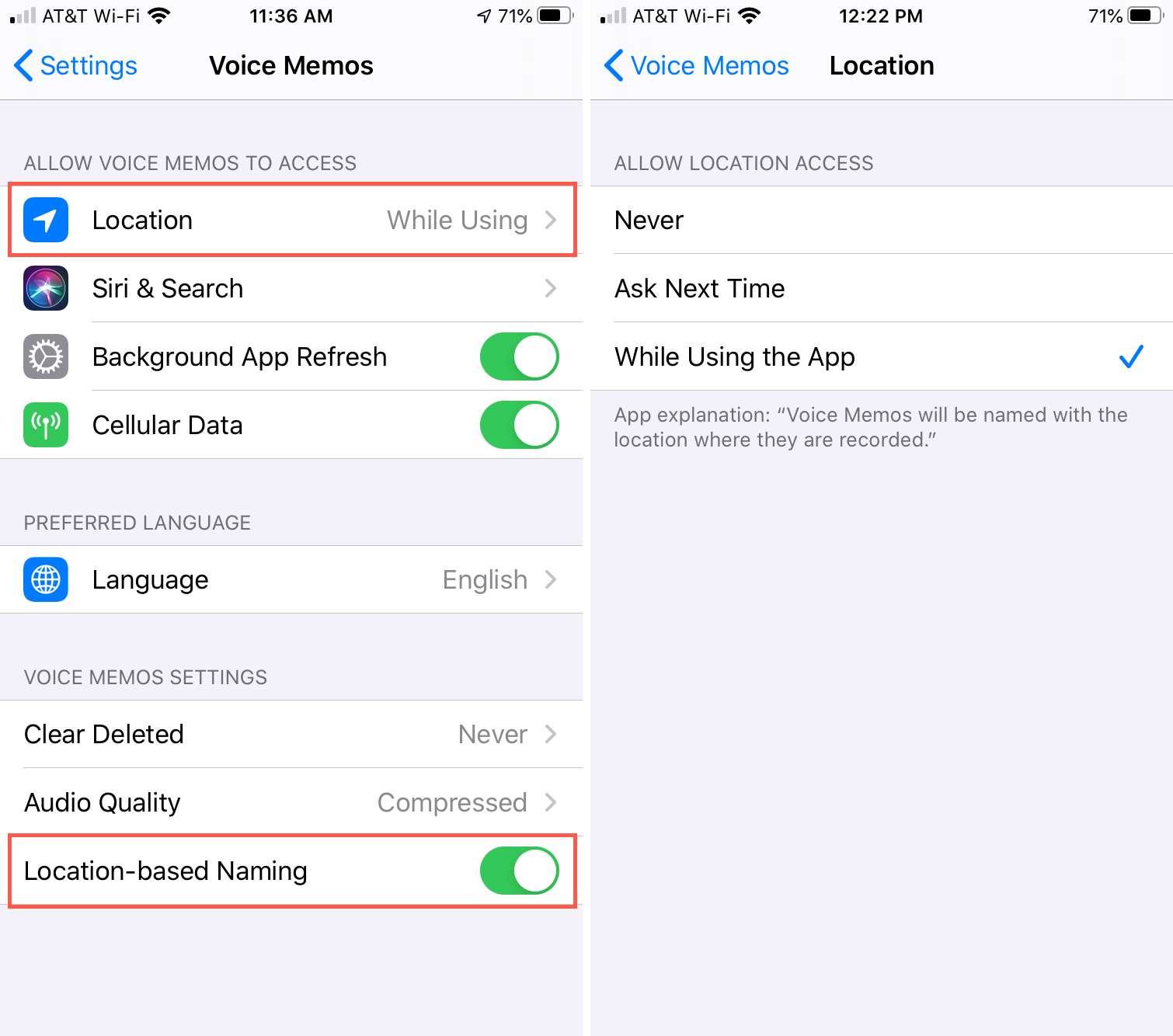 Enable Voice Memos Location iPhone