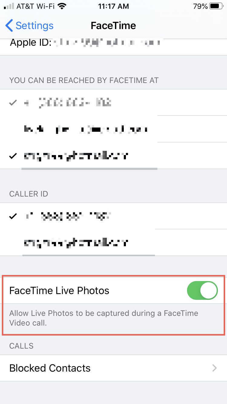 FaceTime Enabled Live Photo iPhone