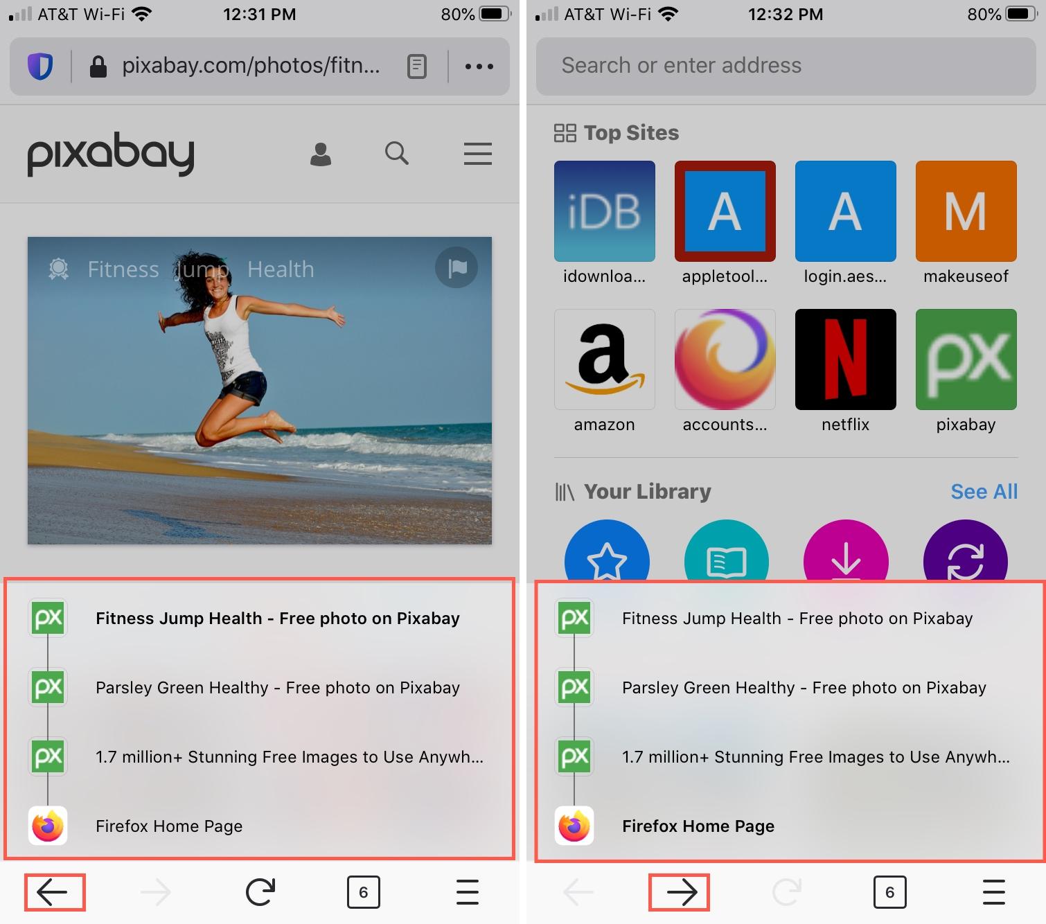 Firefox Back Forward iPhone
