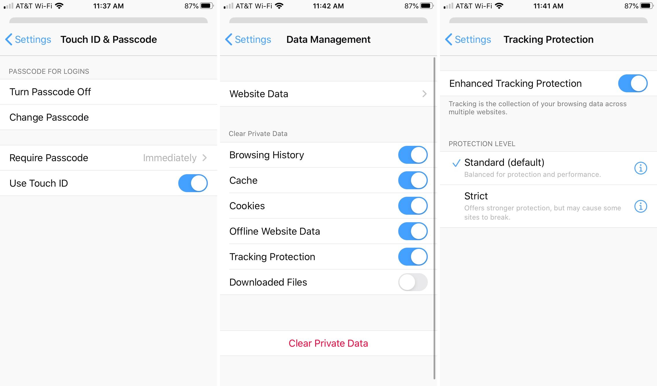 Firefox Passcode Data Tracking iPhone