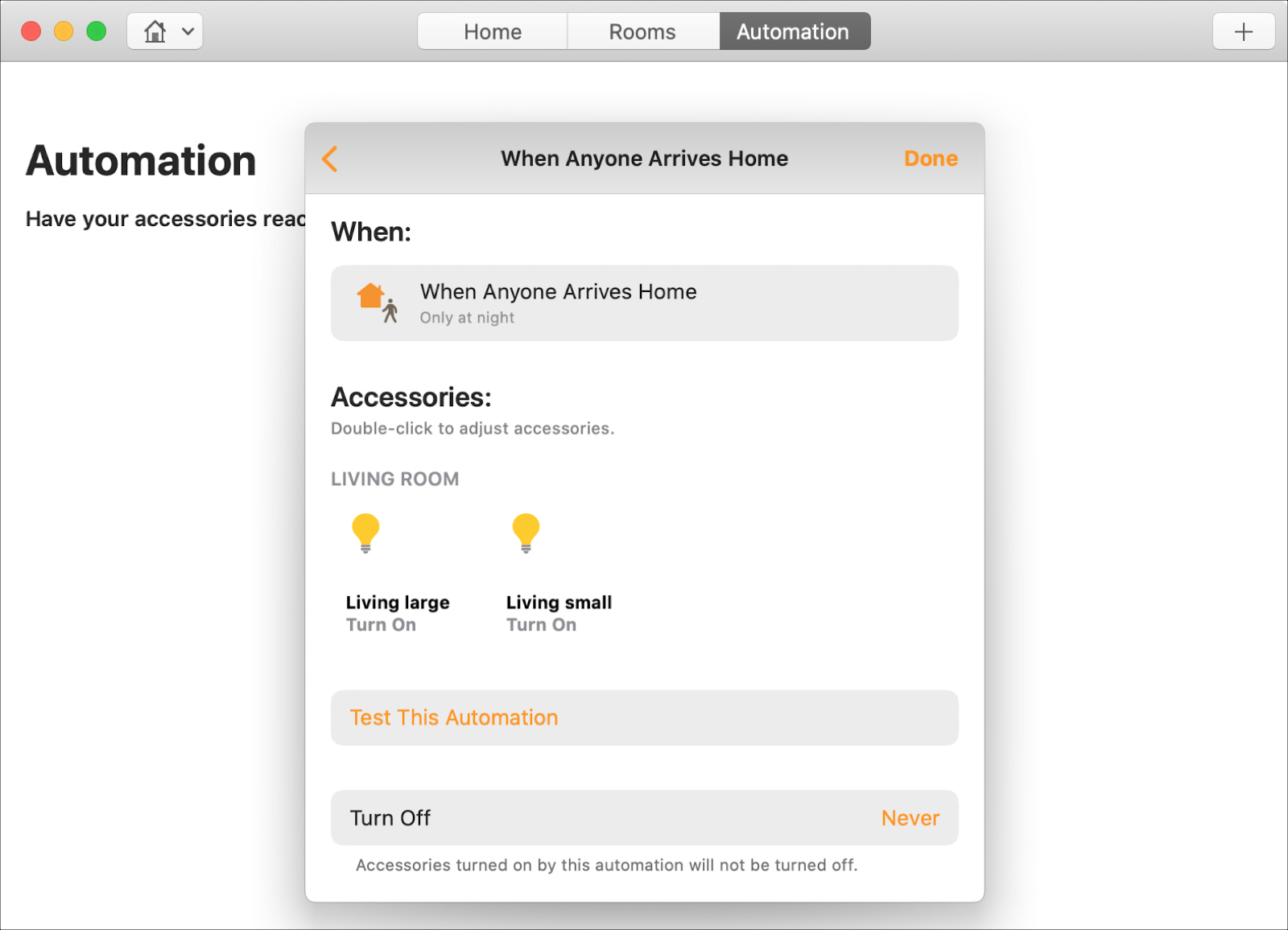 Home Automation When Anyone Arrives Mac