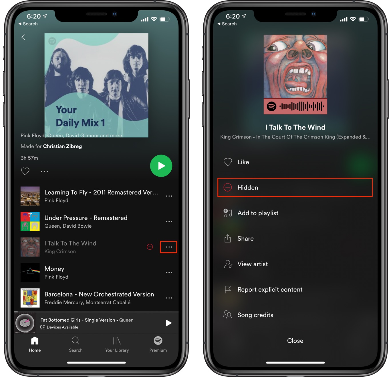 Show Spotify songs