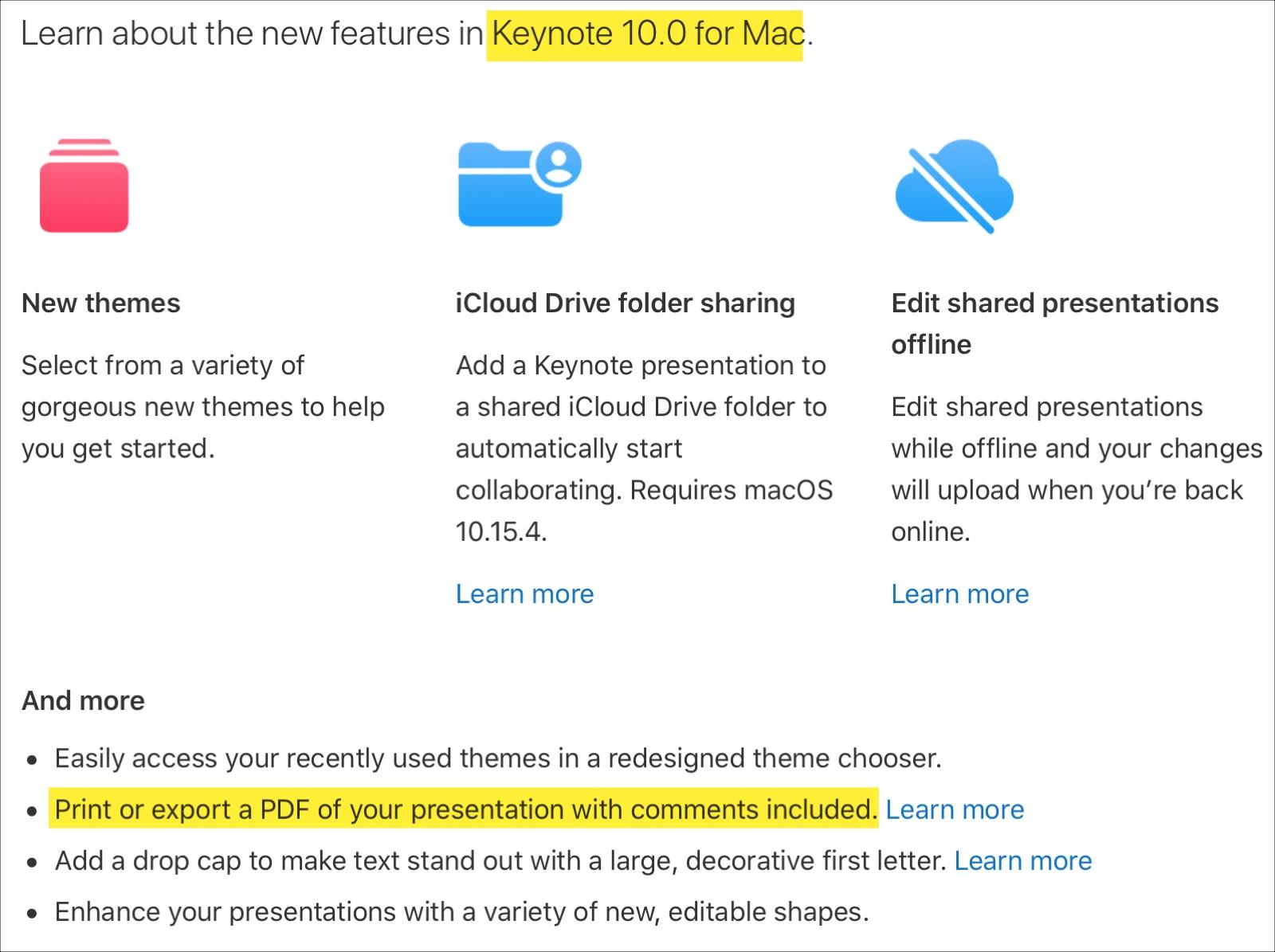 Keynote 10.0 Mac Print Comments