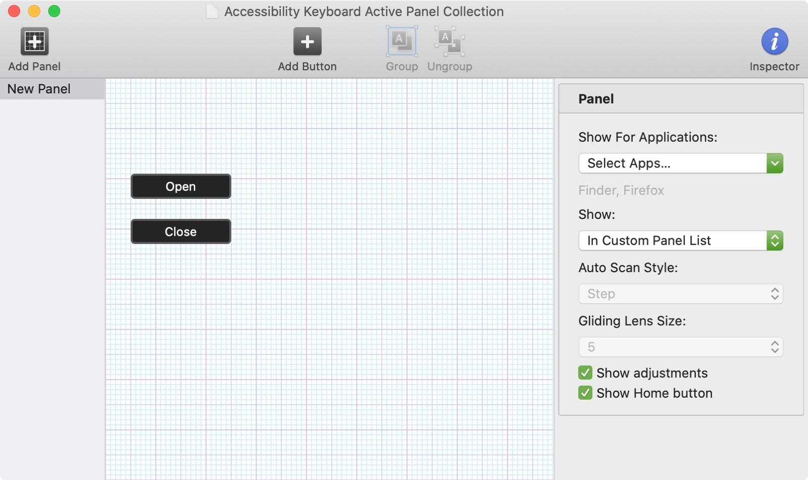 Mac Accessibility Keyboard Panel Editor