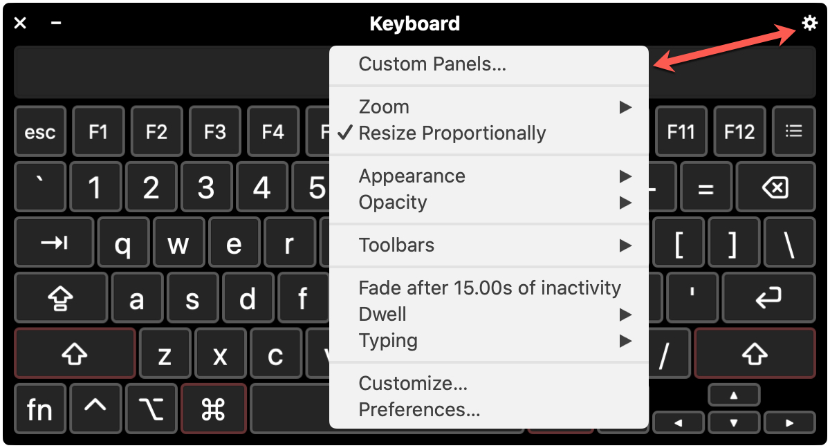 Mac Accessibility Keyboard Panel Options