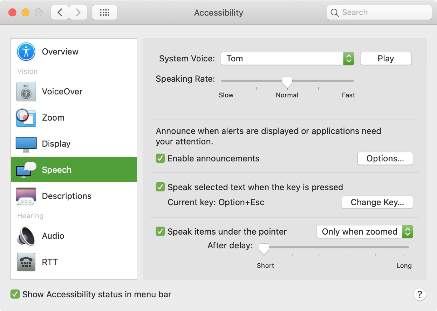 Mac Accessibility Speech Features