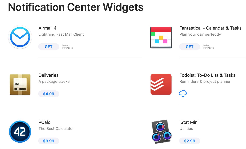 Mac App Store Notification Center Widgets