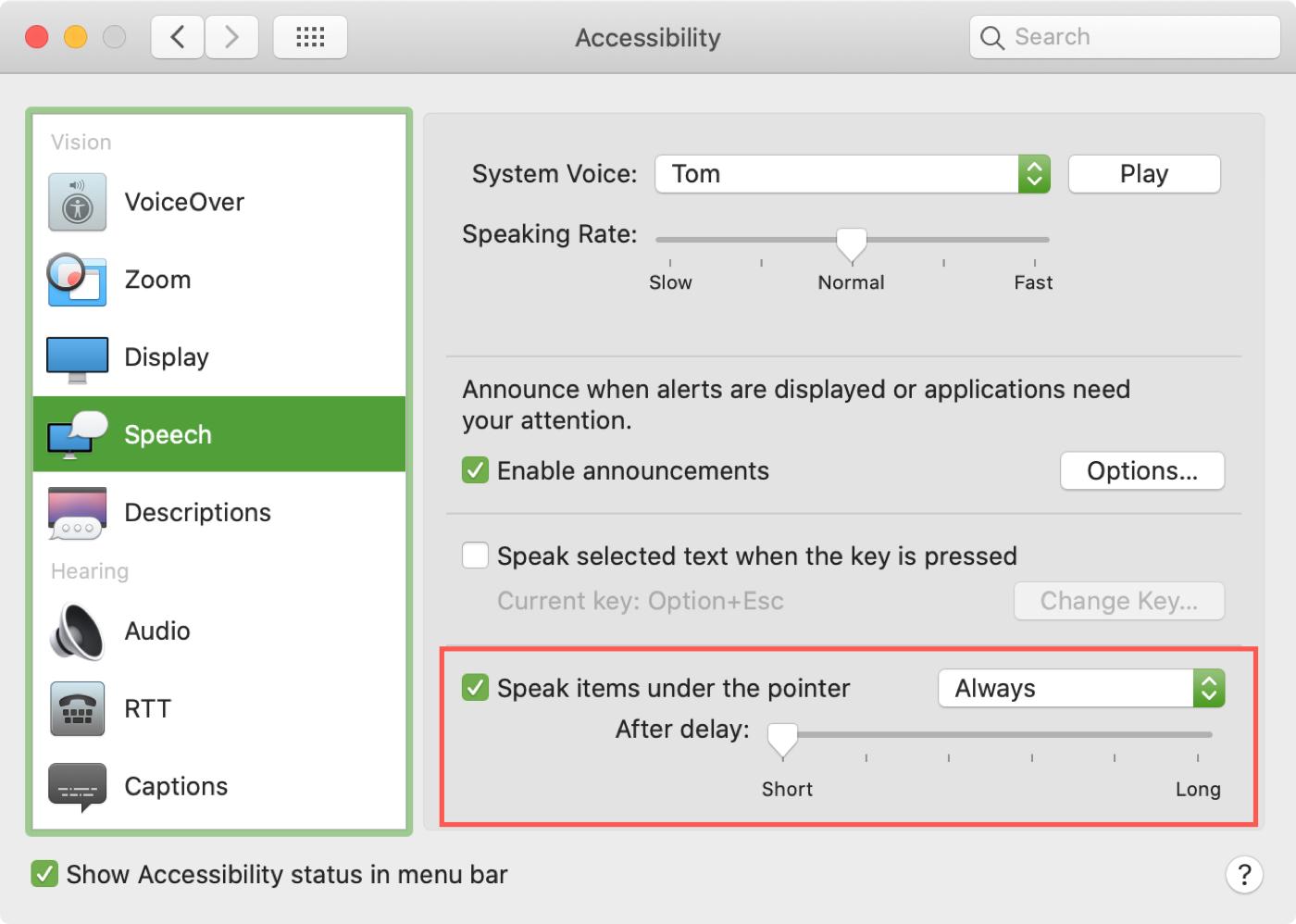Mac Speak Items Under Pointer