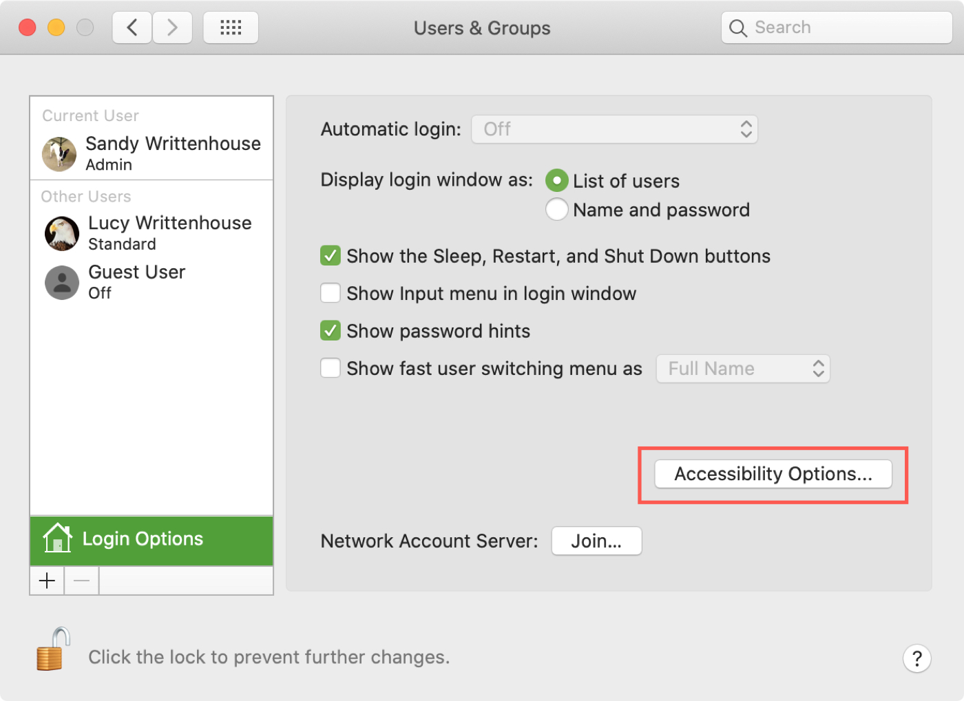 Mac Sys Pref Login Accessibility Options