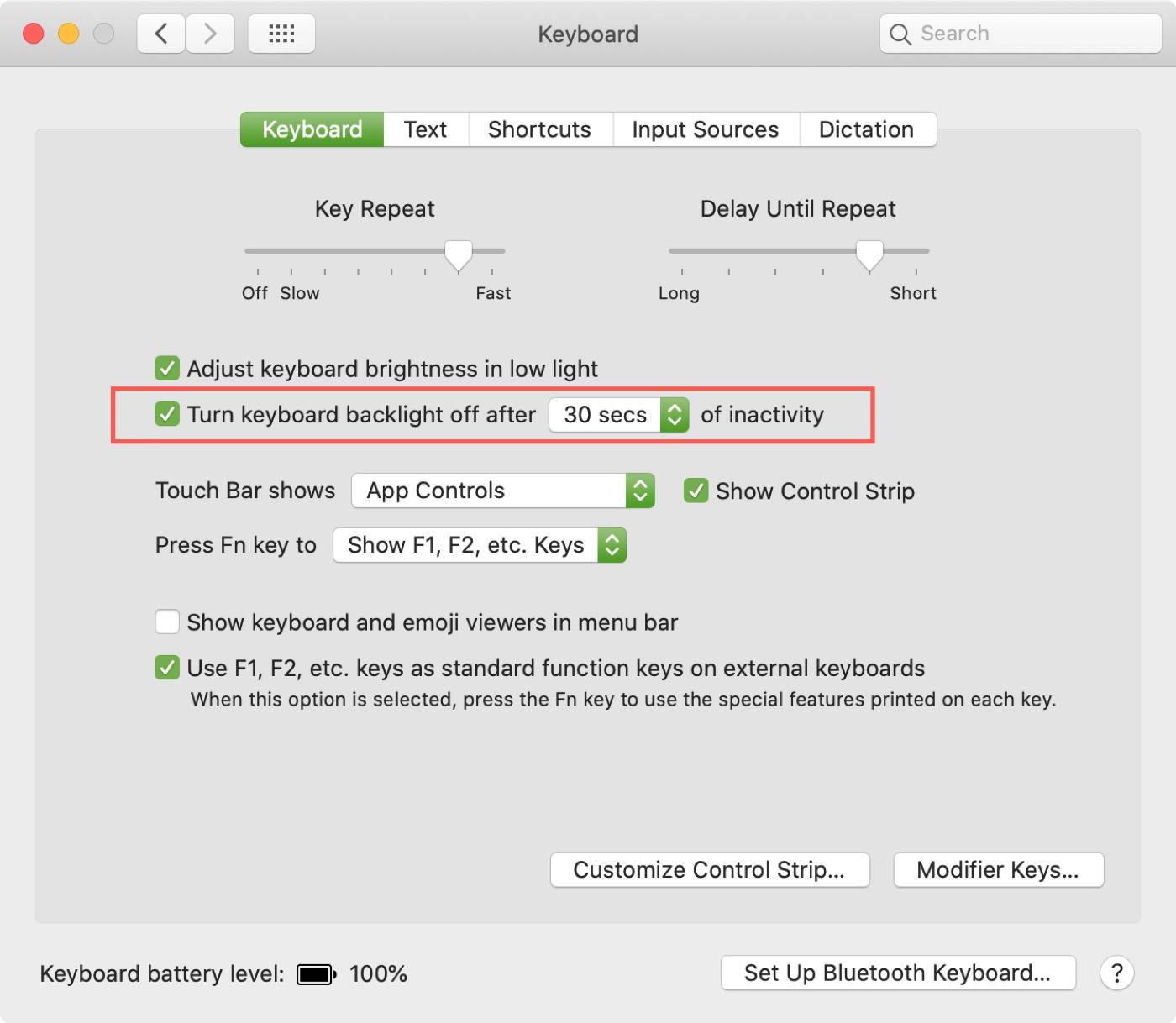 Mac System Preferences Keyboard Backlight