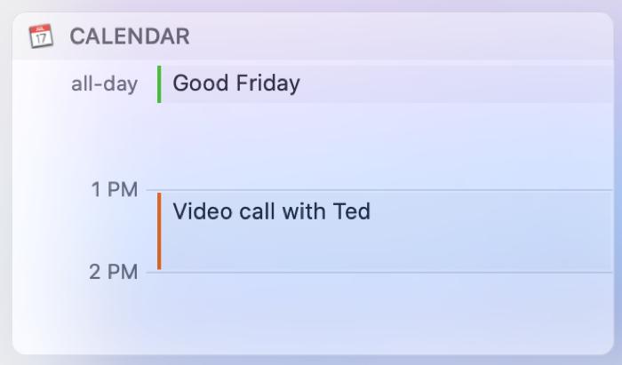 Mac Today View Calendar Widget