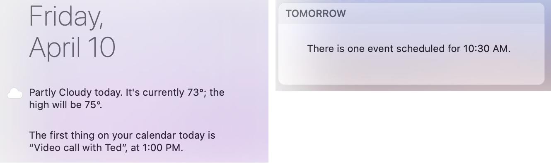 Mac Today View Summary Widgets