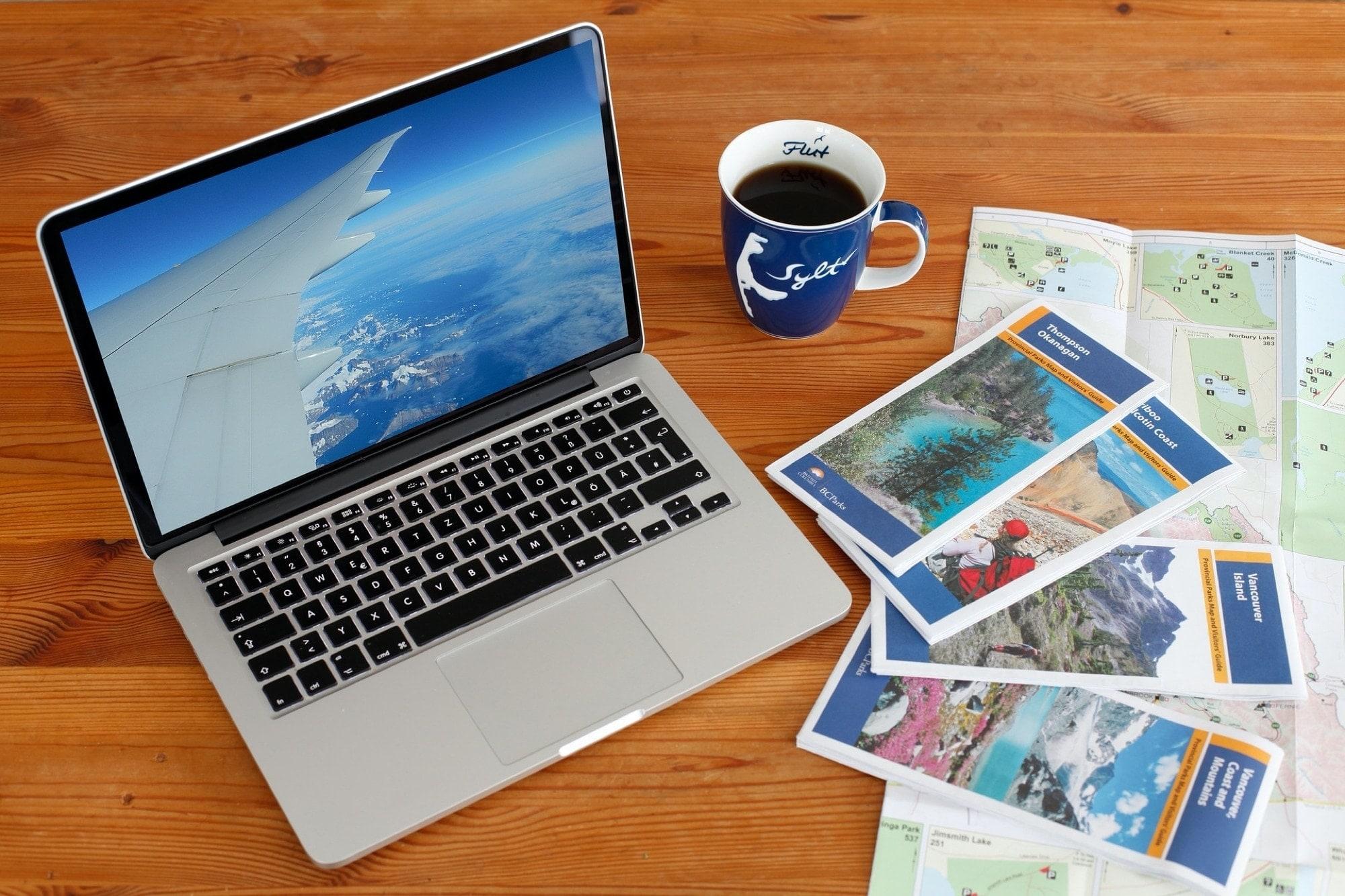 MacBook keyboard and maps