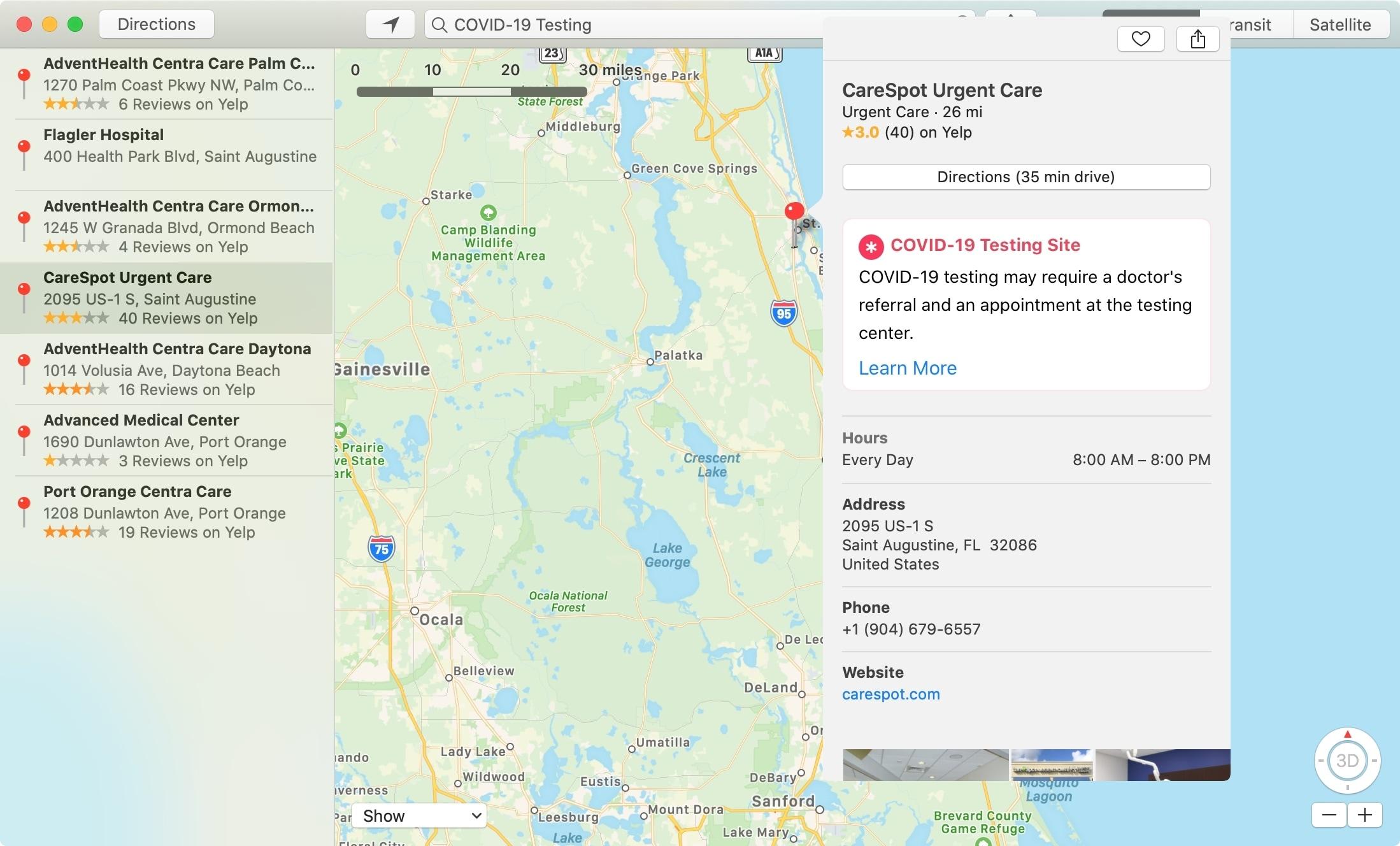 Maps COVID Testing Location Mac