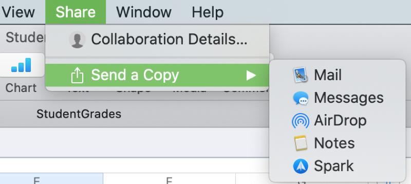 Numbers Send a Copy Mac