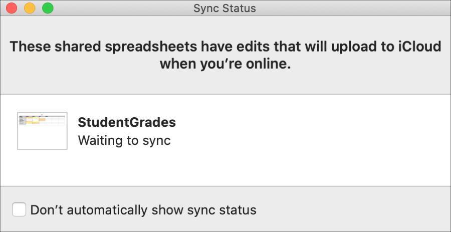 Numbers Sync Status Window Mac