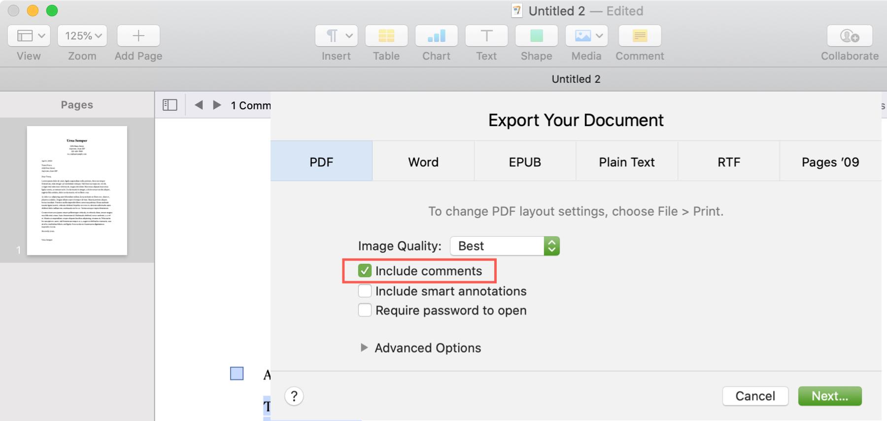 Pages Mac PDF Comments