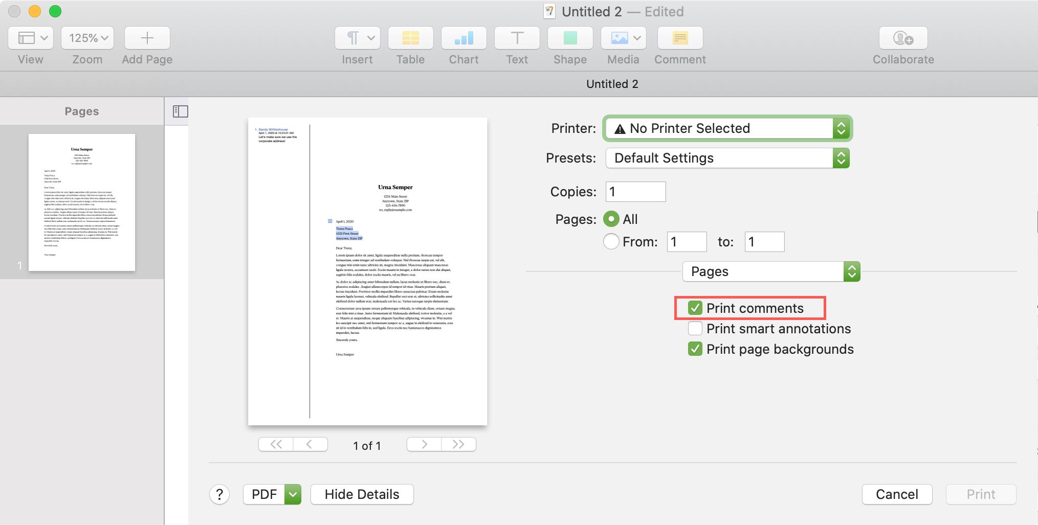 Pages Mac Print Comments