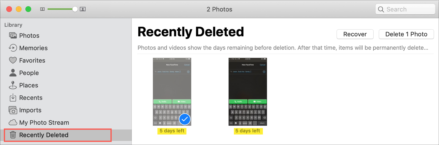 Photos Recently Deleted Days Left Mac