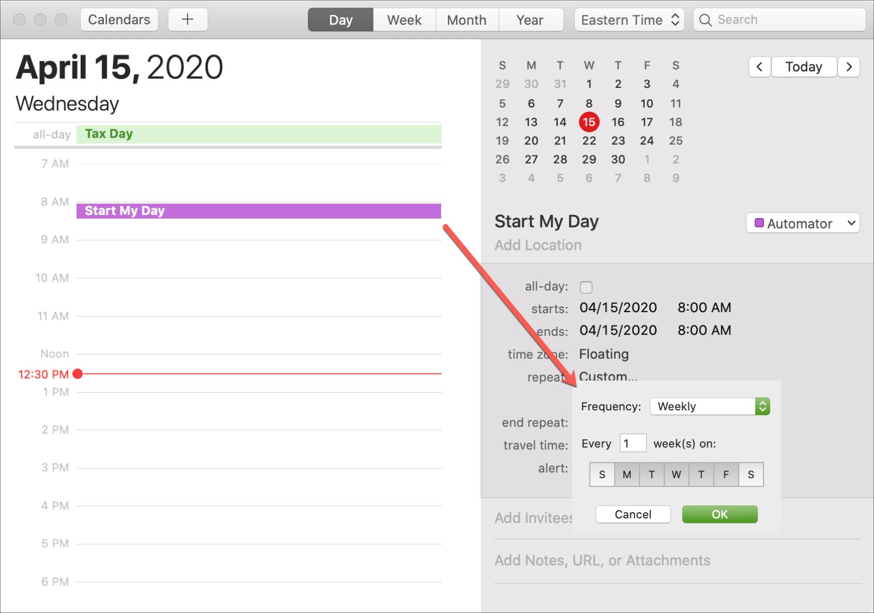 Repeat Event for Automator Calendar Alarm