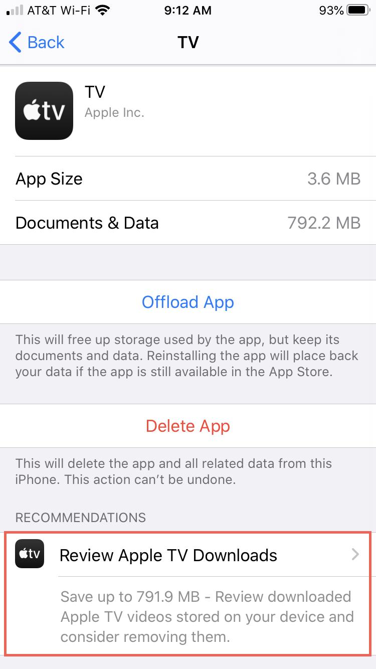 Settings iPhone Storage TV