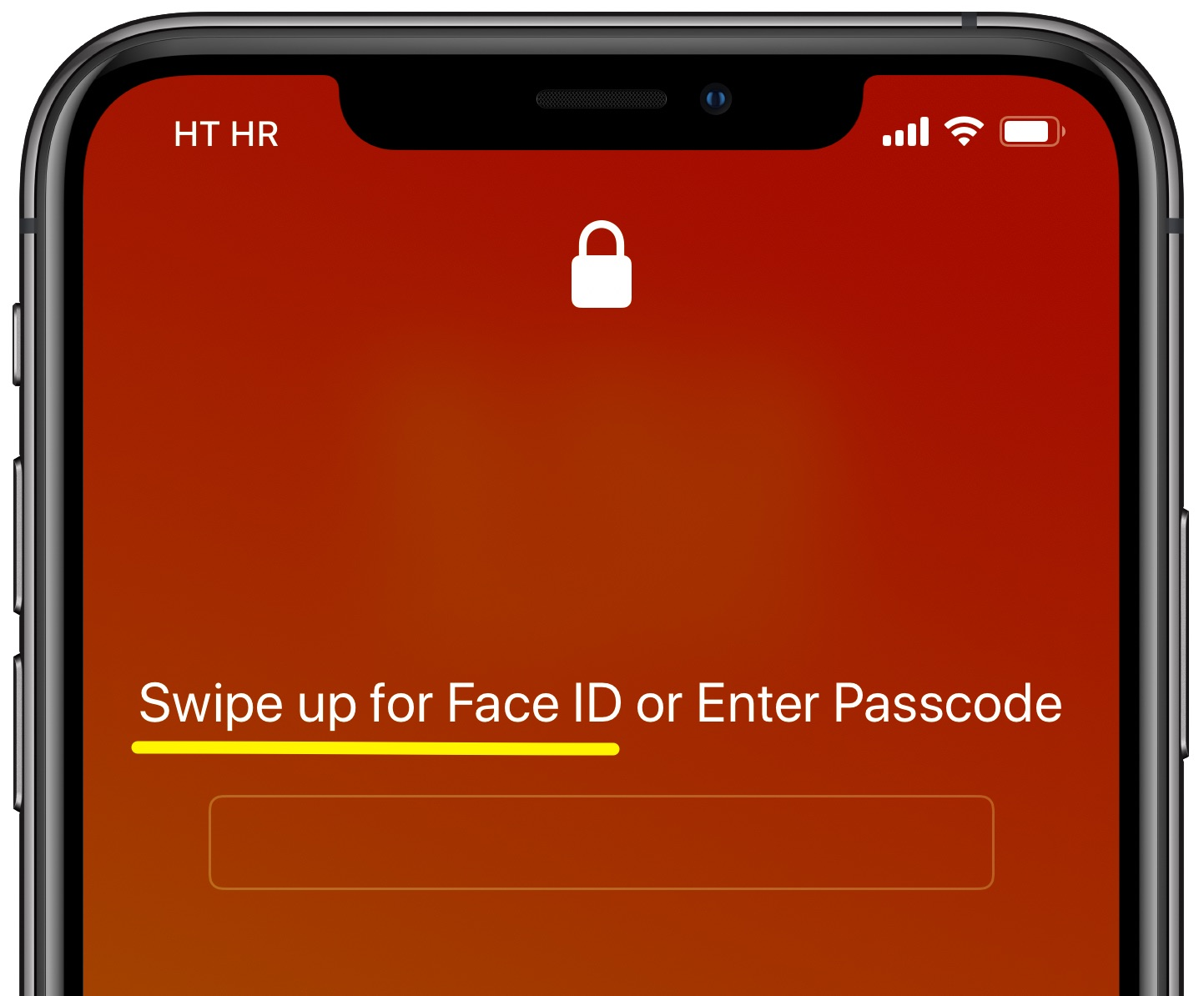 Swipe up for Face ID on passcode screen