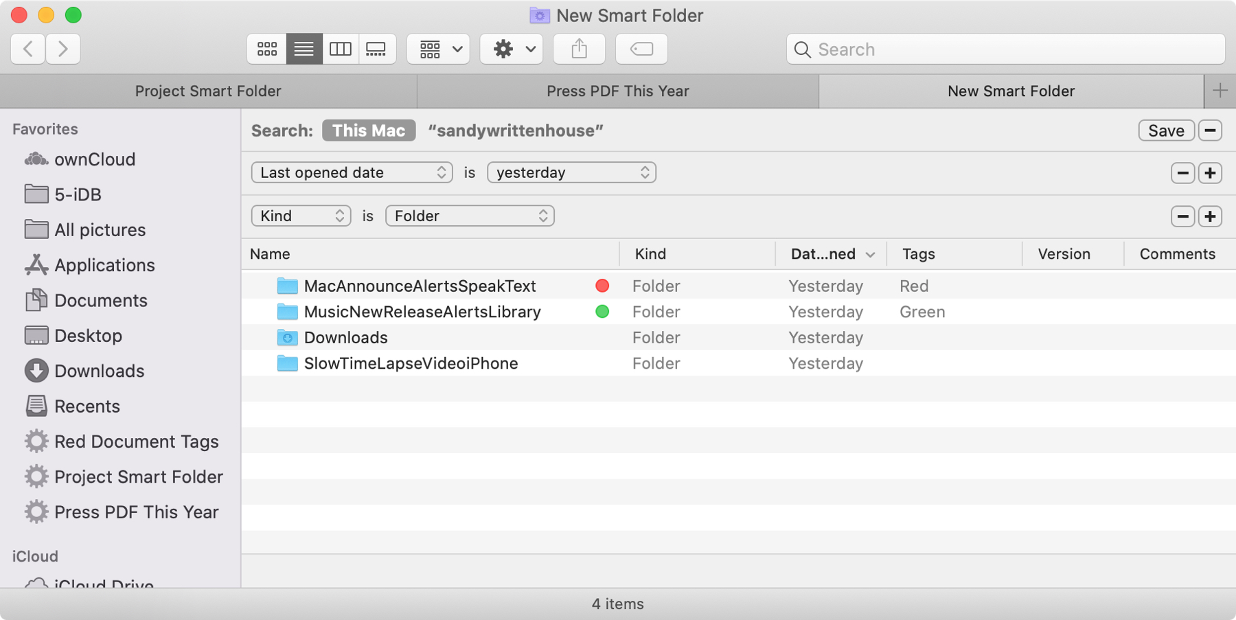 Smart Folders Opened Folder Yesterday