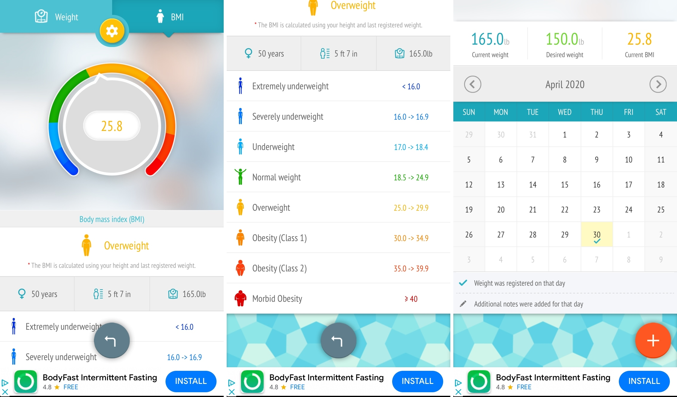 Weight loss tracker BMI iPhone