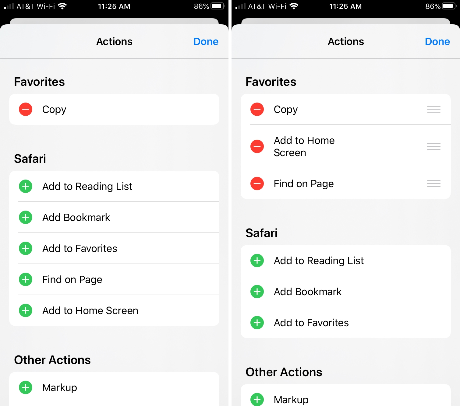 iPhone Customize Actions Share Sheet