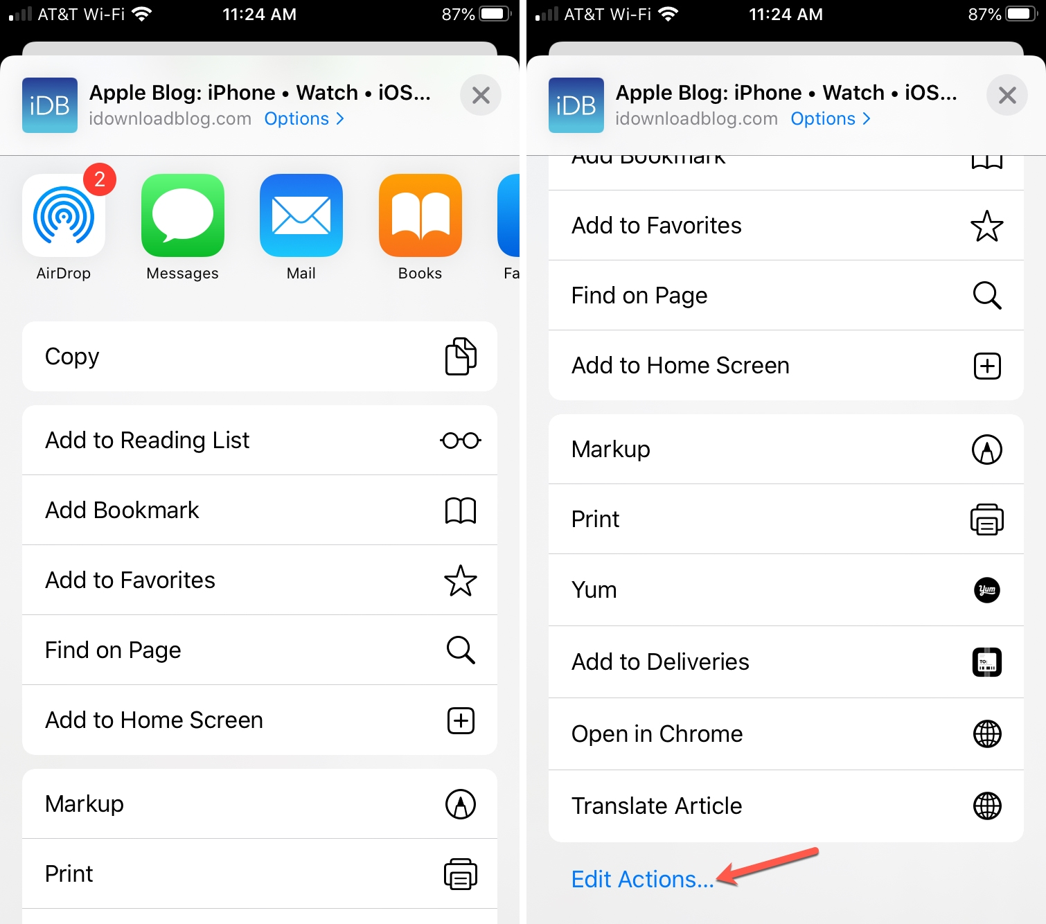 iPhone Edit Actions Share Sheet