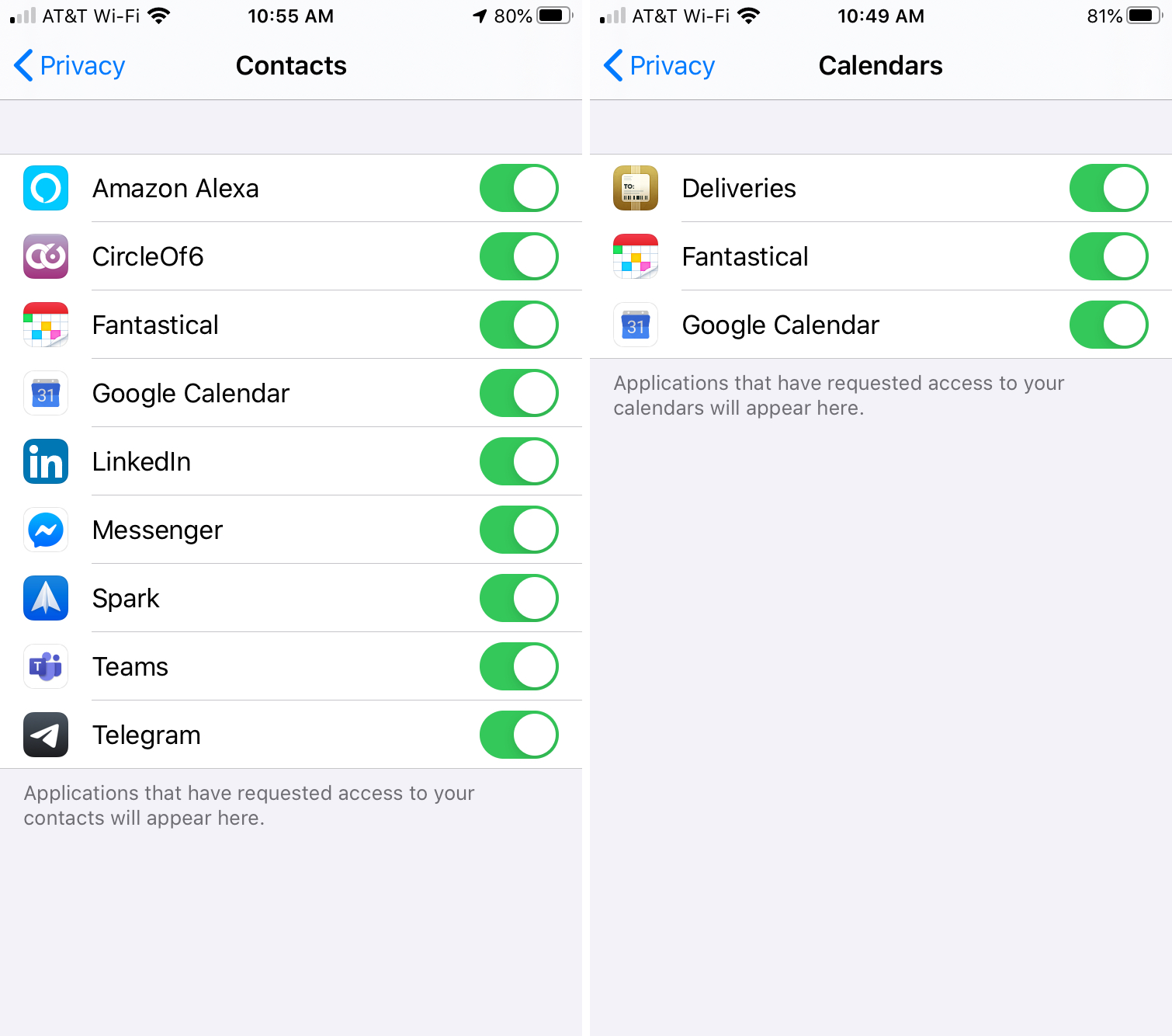 iPhone Privacy Settings Contacts Calendars